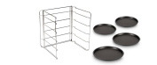 Guardini 27535R Set of Four Pizza Pans and Steel Rack