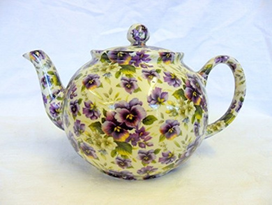 2 cup teapot in purple pansy design by Heron Cross Pottery.