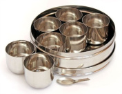 9PC SPICE HERBS MASALA CANISTER STAINLESS STEEL BOX STORAGE COMPARTMENT KITCHEN