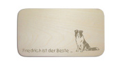 """Breakfast Board with German Text """"BORDER COLLIE» including people Engraving Board Breakfast Board Dog Sign"""