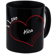 "Mug with ""I Love Alisa Modern Black"