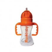 Thinkster 270ml Straw Bottle - White and Orange