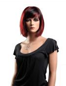 Tsnomore Shoulder Length Black and Red Kanekalon Bob Wig