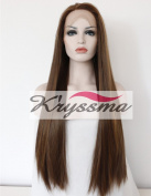 K'ryssma Long Straight Synthetic Hair Highlights Brown Glueless Lace Front Wigs For Women Heat Resistant 60cm
