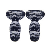 2 Pairs T Shape Heel Grips Care Heel Cushions Padded With Lace, Black