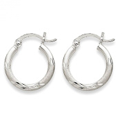 Small 14k White Gold Satin and Engraved Hoop Earrings with Click-Down Clasp (2mm Tube), 0.6 Inch
