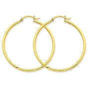 Medium 14k Yellow Gold Diamond Cut Hoop Earrings (2mm Tube), 1 1/2 Inch