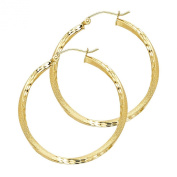 Wellingsale® Ladies 14k Yellow Gold Diamond Cut Polished 2.6mm Hinged Hoop Earrings
