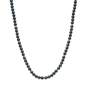 14kt 6.5-7mm Dyed Black Akoya Cultured Pearl Necklace with Gold Beads 18 Inches