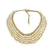 Freshwater Dyed Pearls Collar Bib Silk Net Necklace