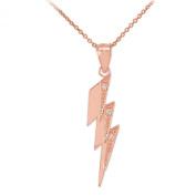 Polished 10k Rose Gold Diamond Lightning Bolt Charm Pendant Necklace