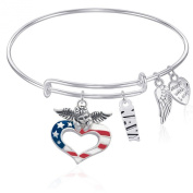 NAVY Expandable Wire Bangle Bracelet with PATRIOTIC ANGEL Charm Silver Finish GIFT BOXED