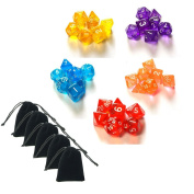 SmartDealsPro 5 x 7-Die Series 5 Colours Translucent Dungeons and Dragons DND RPG MTG Table Games Dice with Free Pouches