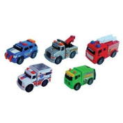 Pack Of 5 Road Rippers Mini City Vehicles Fire Truck Police Car Ambulance 41400