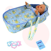 Tourwin Simulation Blink boy Baby Dolls Figure with Doll Bed Hand Rattle 12 Type Voice Children Role Play Pretend Game Toy