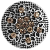 """Cham CHAM Jewellery Chunk Chunks Button Click-System Removable """" Anthracite Crystals"""""""