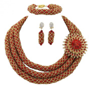 AfricanBeads 6mm Nigerian Wedding African Beads Jewellery Set Women Costume Necklace Bridal Jewellery Set for Christmas Gift