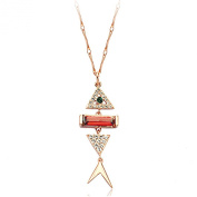 La Vivacita Fish necklace Ruby. crystals 18K rose Gold plated Quality gift Women