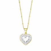 NOELANI Women's Necklace with. Elements Heart Pendant Brass Partially Gold-Plated with Crystals-White 548151 45 CM