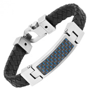 Willis Judd Black Leather Bracelet with Stainless Steel and Blue Carbon Fibre Engraved I Love You with Gift Box