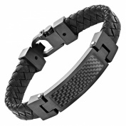 Willis Judd Black Leather Bracelet with Stainless Steel and Black Carbon Fibre Engraved I Love You with Gift Box
