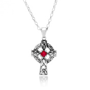 JULY BIRTH STONE (RUBY) ON A 925 SILVER CELTIC CROSS PENDANT NECKLACE ON 41cm CHAIN