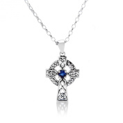 SEPTEMBER BIRTH STONE (SAPPHIRE) ON A 925 SILVER CELTIC CROSS PENDANT NECKLACE ON A 41cm CHAIN