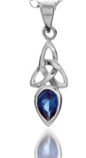 A 925 SILVER CELTIC TRINITY PENDANT NECKLACE SEPTEMBER BIRTH STONE (SAPPHIRE) ON A 41cm CHAIN