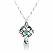 6DECEMBER BIRTH STONE (TURQUOISE) ON A 925 SILVER CELTIC CROSS PENDANT NECKLACE ON 46cm CHAIN