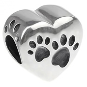 Silver Heart Paw Print Charm Bead - 925 Sterling Silver
