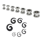 Set flesh tunnel stainless steel and / or taper expander