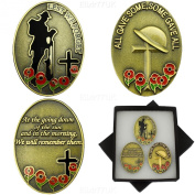 NEW BOXED SET OF 3 LEST WE FORGET REMEMBER THEM ANTIQUE GOLD ENAMEL POPPY BADGES IN PRESENTATION BOX UK SELLER