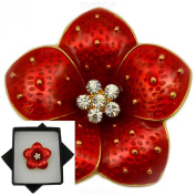 NEW BOXED RED POPPY BROOCH RHINESTONE CRYSTALS FLOWER PIN BROACH IN BLACK PRESENTATION BOX UK SELLER