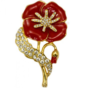 NEW LARGE 6.9cm RED POPPY FLOWER RHINESTONE DIAMANTE CRYSTALS GOLD colour BROOCH PIN BADGE BROACH UK SELLER