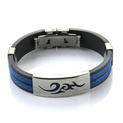 TOOGOO(R) Stainless Steel Cloud Black Blue Silicone Bangle Cuff Bracelet Wristband Men