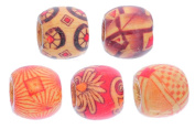Souarts Mixed Wooden Beads for Charm Bracelet Pack of 100pcs