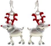 Rudolph Red Nose Reindeer Christmas Drop Dangly Earrings in Gift Bag Ladies Girls Womens Silver Christmas Jewellery