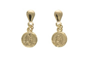 9ct Gold St Christopher Drop Earrings
