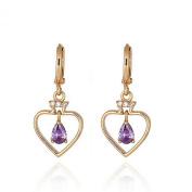 Heart Earrings Drops Yellow Gold Earrings Drops Purple Crystal Set Earrings