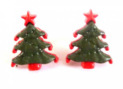 CUTE CLIP ON FIXING CHRISTMAS TREE EARRINGS