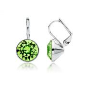 MYJS Bella Rhodium Plated Mini Drop Earrings with Peridot Green. Crystals