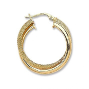 JQS - Pair of 9ct Yellow Gold Plain & Honeycomb 25mm Diameter Double Hoop Earrings Wt 2.2G