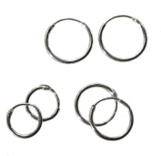 Sterling Silver Hoop Earrings Small size 3 Pairs 10mm 12mm 14mm body jewellery