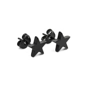 1 Pair Black Cool Stainless Steel Star Men's Earring Ear Stud Eardrop Gift 13mm