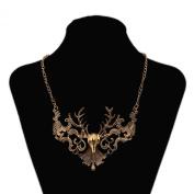 Yazilind Vintage Deer Head Shape Alloy Bronze Collar Bib Necklace Women