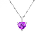 Miore MG9150N Women's 9 ct White Gold Heartshaped Amethyst Pendant on 45 cm Silver Chain