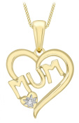 Carissima Gold 9 ct Yellow Gold 0.005 ct Diamond MUM Heart Pendant on Curb Chain Necklace of 46 cm/18-inch