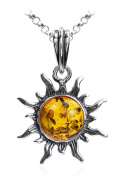 Amber Sterling Silver Sun Pendant Necklace 46cm