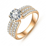AnazoZ Jewellery Style Women Bride Rings Real Platinum/18K Gold Plated AAA Swiss Cubic Zirconia Inlayed Rings CRI0012