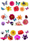 28 Beautiful Flower & Butterfly Edible Wafer Paper Cake Toppers Decorations